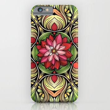 Ornamented Flowers iPhone & iPod Case by MIKART