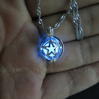 glow in the dark Small Star Necklace, Tiny Pearl Star Necklace, Everyday Necklace, zelda necklace
