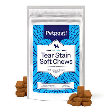 Petpost | Tear Stain Remover Soft Chews - Delicious Eye Stain Supplement for Dogs - Perfect Natural Treatment for Tear Stains on Maltese, Chihuahua, Shih Tsu, and All White Fur Angels (90 Daily Chews)