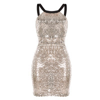 2017 Spring Summer Women Sexy Sequin Dress O-neck Night Club Party Dresses Sleeveless Backless Bodycon Dress Vestidos CP2781