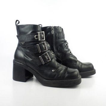 Harley Davidson Boots Vintage 1980s Black Leather  Motorcycle women's size 8