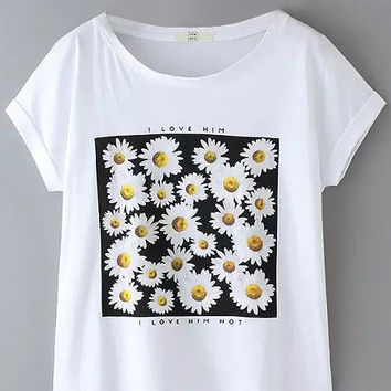 White Daisy Floral Printed T-Shirt