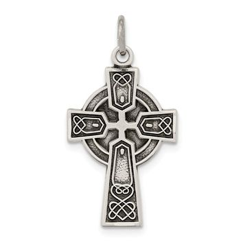925 Sterling Silver Antiqued Satin Celtic Cross Shaped Pendant