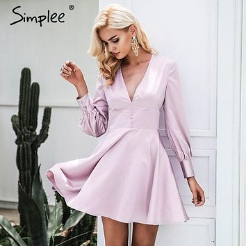 Elegant Soft Satin V Neck Sexy Dress
