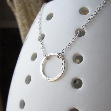 Sterling Silver Hammered Circle Ring Necklace - simple modern wear by Yameyu