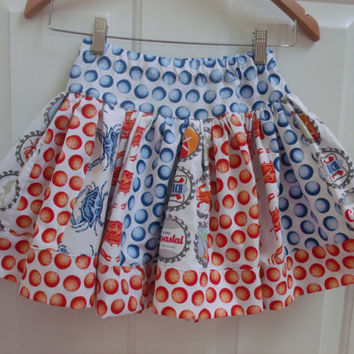 Crab Skirt Michael Miller Crab Walk Fabric skirt Boardwalk  Beach Skirt Crab Feast Michael Miller Going Coastal FabricSuper Twirly Skirt