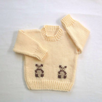 Baby sweater with teddies - 12 to 24 months - Baby clothing - Baby shower gift - Knit panda sweater