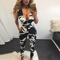 Sexy Winter V-neck Vest Zippers Jumpsuit [8998744324]