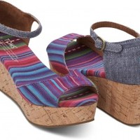 TOMS Shoes Multi Stripe Platform Wedges Women's Sandal Heels,