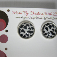 Fashionable cow print post earrings