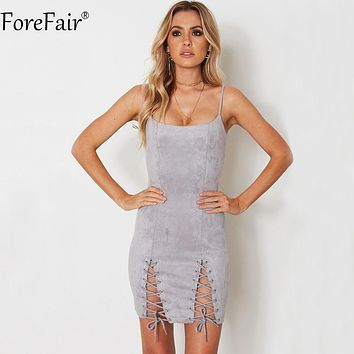 ForeFair Sexy Sling Strapless Criss-Cross Lace-Up Bodycon Party Dresses Suede Black Gray Army Green Back Zipper Autumn Dress