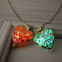 Glow in the dark necklace, gold heart cage pendant, heart locket necklace