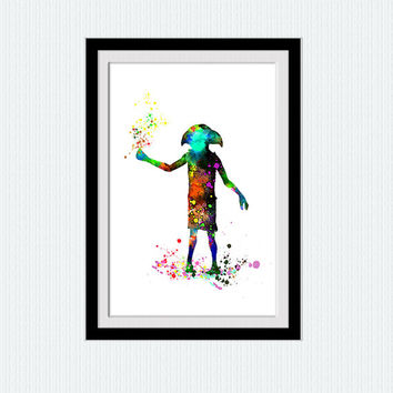 Dobby watercolor art poster, Dobby colorful print, Harry Potter, home decoration, wall poster, gift, nursery, kids room illustration, W99