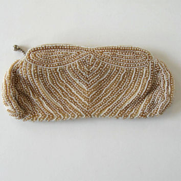 Beaded Vintage Pearl Beaded Clutch,Woman's accessory, Retro, Wedding, Attached carry strap