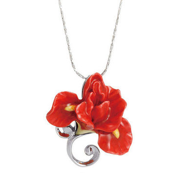 Franz Collection Iris Flower Necklace in Red