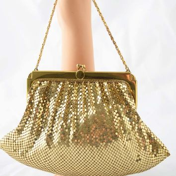 Vintage White and Davis Gold Mesh Evening Bag