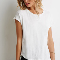 Crinkled Stretch Knit Blouse