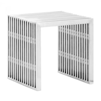Novel End Table   Brushed Stainless Steel