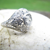 Intricately Detailed Edwardian to Art Deco Platinum Diamond Ring - Old Mine Cut Diamond - Fiery Old Stones - Lovely Filigree