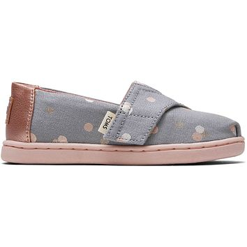 TOMS - Tiny Classics Drizzle Grey Party Dots Slip-Ons