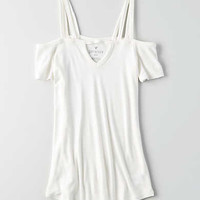 AEO Soft & Sexy Ribbed Cold Shoulder T-Shirt , Natural White