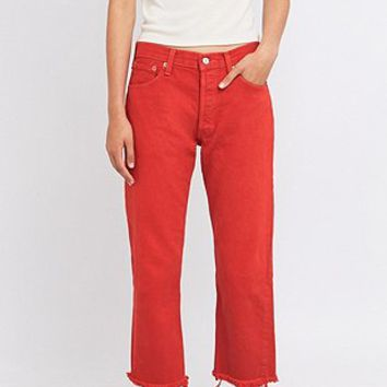 Urban Renewal Vintage Customised Levis 501 Overdyed Red Cropped Jeans - Urban Outfitters