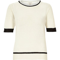 River Island Womens Cream lightweight textured t-shirt