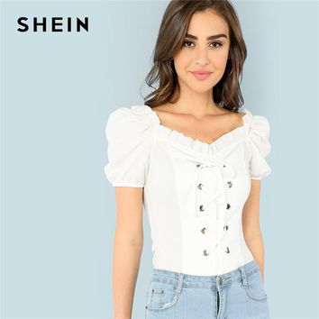 SHEIN White Elegant Office Lady Button Frill Trim Lace Up V Neck Puff Sleeve Solid Tee 2018 Summer Casual Women T shirt Top