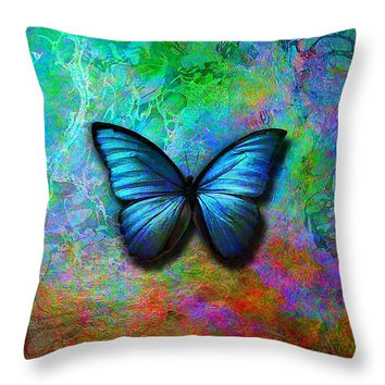 Custom made decorative  accent throw pillow. Colorful butterfly on iridescent background