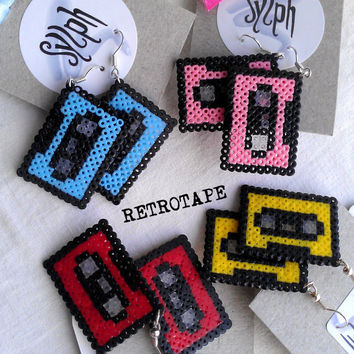 Earrings made of Hama Mini Beads - Retrotape (various colors)