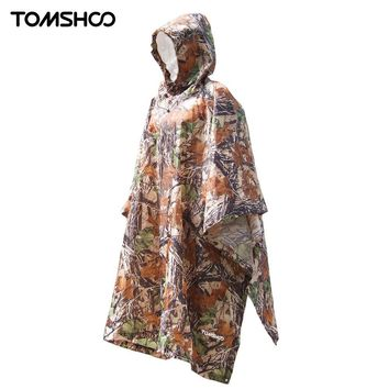 TOMSHOO 3 in 1 Multifunctional Outdoor Rain Poncho Backpack Rain Cover Waterproof Tent Awning Outdoor Camping Tent Mat