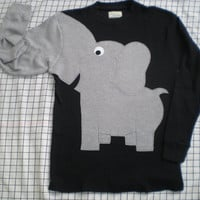 Elephant trunk long sleeve t-shirt Black with grey elephant Mens size Small