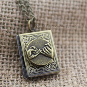 Wish Finger book locket necklace personalized Antique steampunk jewelry Unique gift vintage gift