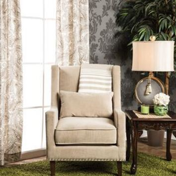 Amarri Contemporary Nailhead Trim Accent Chair in Ivory