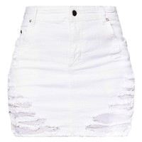 White Super Shred Denim Mini Skirt