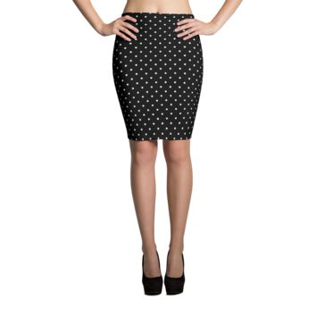 White Polka Dots Pencil Skirt