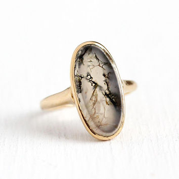 Vintage Agate Ring - 14k Rosy Yellow Gold Moss Agate - Art Deco 1930s Size 6 1/2 White Brown Green Genuine Gemstone Fine Jewelry