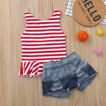 Red Stripe Ruffle Outfit Denim Tank Top And Shorts