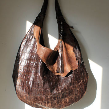 HUGE dark brown & raw leather distressed shopper bag tote croc hobo tribal lextra large oversized asymmetrical  leather bag hobo handmade