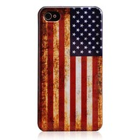 Vintage American Flag Hard Plastic Case for iPhone 4/4S