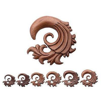 "PAIR-Tapers Spiral Wood Red Saba Fancy Filigree 12mm/1/2"" Gauge Body Jewelry"