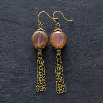 Pink Antique Brass Chain Tassel Earrings with Czech Glass Beads, Chain Earrings, Dangle Earrings, Boho Earrings, Pink Tassel Earrings