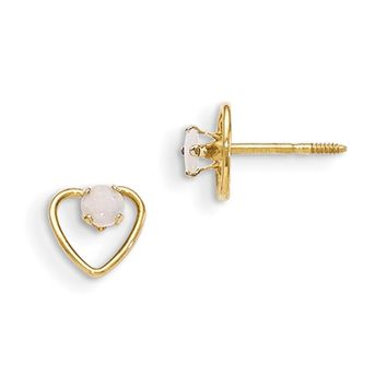 14kt Yellow Gold Open Heart Frame 3mm Opal Screwback Girls Earrings