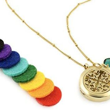 SHIP BY USPS: 1 Gold Celtic Essential Oil Diffuser Necklace - Aromatherapy Jewelry - Hypoallergenic 316L Surgical Grade...