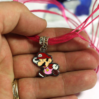 Red and Pink Mario Charm Necklace with Pink Cord - girls necklace - girls teens womens necklace