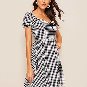 Sweetheart Neck Puff Sleeve Gingham Dress
