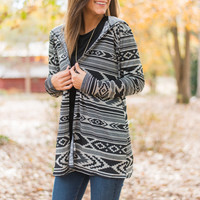 Tribal Time Cardigan, Black/Gray