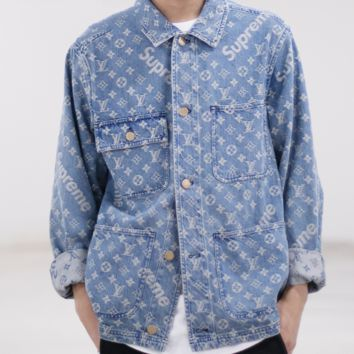 Supreme x LV more alphabet print long sleeve Turn-down Collar T-shirt cowboy coat H-AGG-CZDL