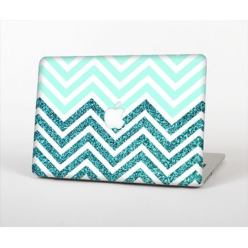 "The Light Teal & Purple Sharp Glitter Print Chevron Skin Set for the Apple MacBook Pro 13"" with Retina Display"