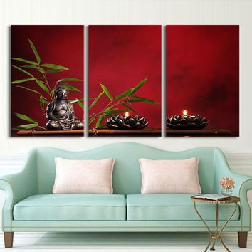 Drop shipping HD Printed 3 piece canvas art Zen Buddha meditation Buddhism religion Painting room decor poster